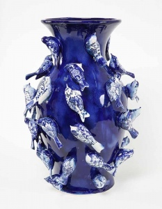 Cobalt blue bird vases  by  Simon Ward